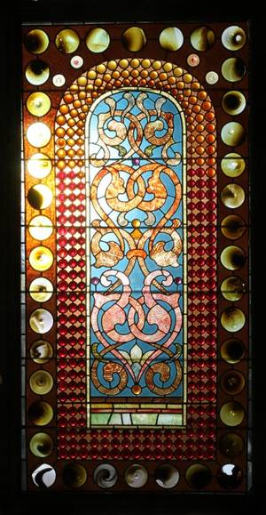 ANTIQUE LEADED  STAINED GLASS WINDOW
