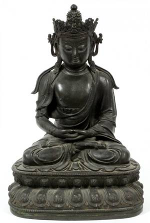 ANTIQUE SEATED BRONZE BUDDHA 19TH C
