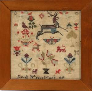 AMERICAN NEEDLEWORK SAMPLER BY SARAH WEST 1838
