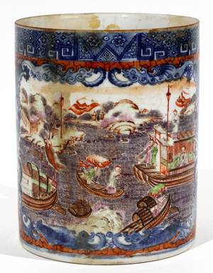 CHINESE EXPORT PORCELAIN MUG LATE 18TH C