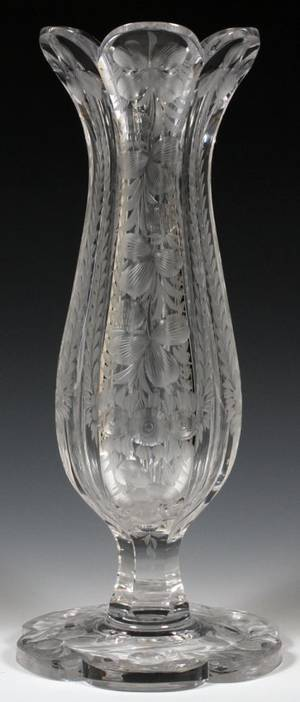 LIBBEY ENGRAVED GLASS FOOTED VASE C 1900