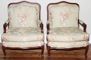 PEARSON FRENCH STYLE ARMCHAIRS MID 20TH C PAIR