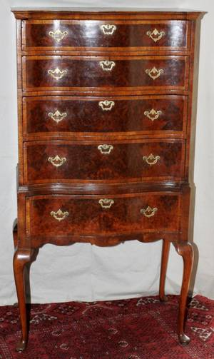 WALNUT QUEEN ANNE CHEST ON CHEST 19THC