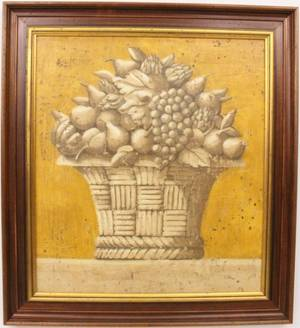 Large Decorative Oil Still Life of Fruit