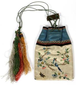 CHINESE EMBROIDERED SILK PURSE C 1900