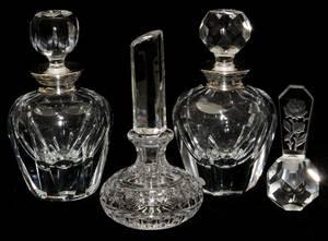 CUT GLASS PERFUME BOTTLES SIX