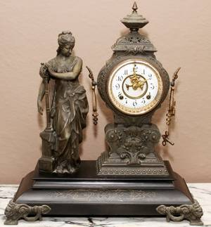 AMERICAN SPELTER FIGURAL MANTEL CLOCK LATE 19TH C