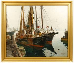 Signed Anthony Thieme Oil Two Fishing Boats
