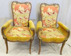 VICTORIAN CARVED WALNUT UPHOLSTERED ARM CHAIRS PAIR