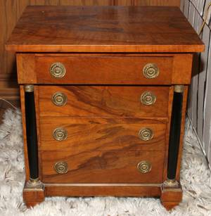 EMPIRE STYLE MAHOGANY LOW CHEST OF DRAWERS