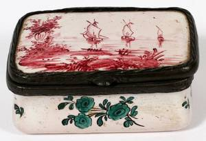 FRENCH FAIENCE TRAVELING INKWELL 18TH C