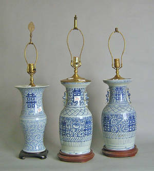 Three Chinese export blue and white porcelain vase table lamps