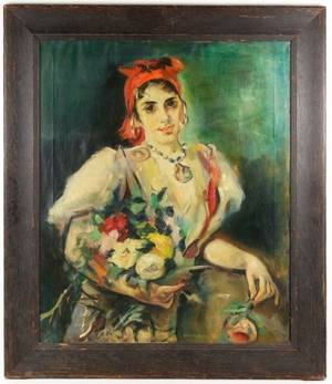 Robert Henri 1918 Oil Spanish Girl with Flowers