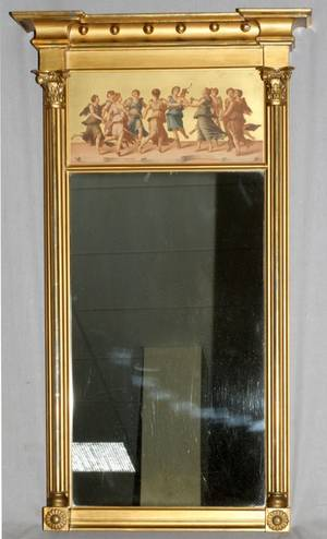 FEDERAL STYLE CARVED GILT WOOD MIRROR 19TH C