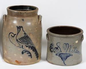 ES WILSON STONEWARE CROCK  ANOTHER 19TH C TWO