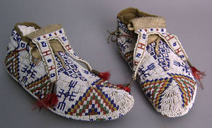 Pair of Lakota Sioux  fully beaded ceremonial moccasins 19th c