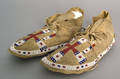Pair of Plains beaded hide moccasins 19th c