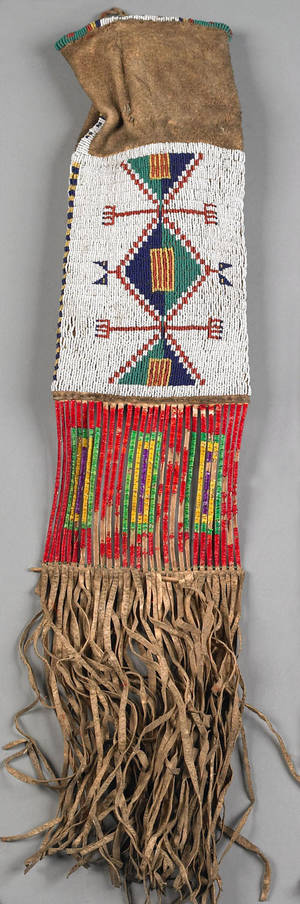 Plains beaded and fringed hide tobacco bag 19th c probably Sioux
