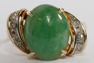 405CT NEPHRITE JADE  DIAMOND LADIES RING SZ 8 14