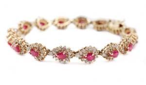 Ladies 14k Gold Ruby and Diamond Bracelet