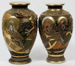 JAPANESE SATSUMA EARTHENWARE VASES EARLY 20TH C