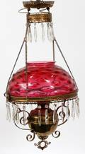 VICTORIAN CRANBERRY GLASS HANGING LAMP LATE 19TH C