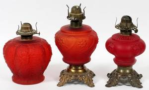 VICTORIAN RED SATIN GLASS OIL LAMPS LATE 19TH C