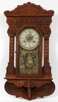 NEW HAVEN CLOCK CO CARVED OAK WALL CLOCK
