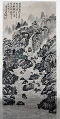 CHINESE WATERCOLOR SCROLL H 42 L 19 MOUNTAIN LANDS