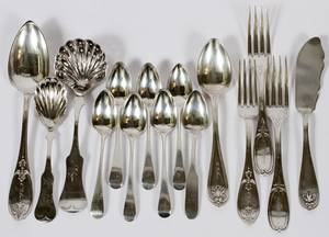 GEORGE III STERLING  AMERICAN COIN SILVER FLATWARE
