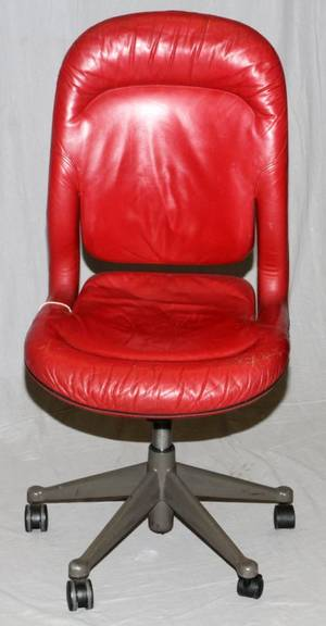 HERMAN MILLER RED LEATHER OFFICE DESK CHAIR C1950