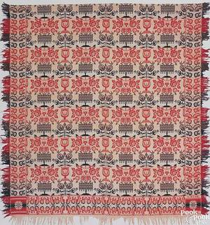 Red blue green and white jacquard coverlets mid 19th c
