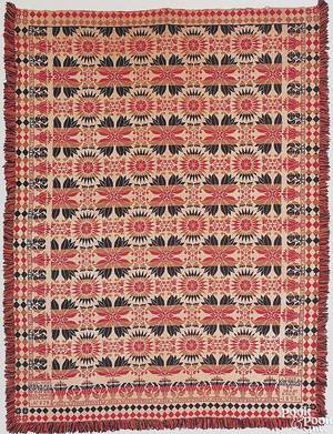 Pennsylvania red navy blue ochre and white jacquard coverlet by Samuel B Musselman