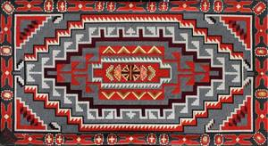 NATIVE AMERICAN INDIAN STYLE WOVEN WOOL RUG 1977