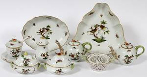 HEREND ROTHSCHILD BIRD TEAPOTS SERVING PIECES10