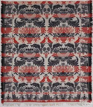 Red white and blue jacquard coverlet mid 19th c
