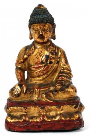 CHINESE GILTLACQUERED BRONZE BUDDHA