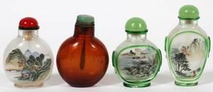 CHINESE PEKING GLASS SNUFF BOTTLES FOUR
