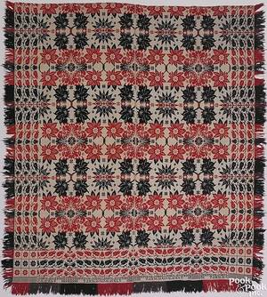 Schaefferstown Pennsylvania red blue green and white jacquard coverlet by John Smith