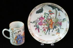 CHINESE PORCELAIN PLATE  MUG LATE 19TH C