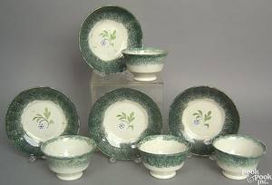 Set of 4 teal spatter cups and saucers 19th c