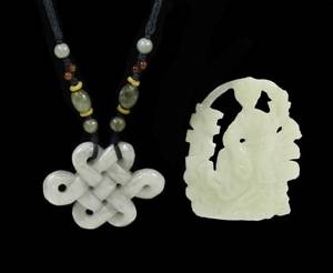 Two Celadon Jade Carved Pendants Knot  Figural