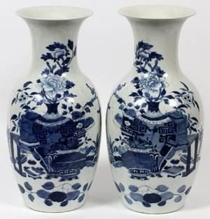 CHINESE BLUE WHITE PORCELAIN VASES PAIR