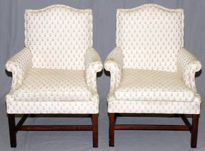 UPHOLSTERED WING BACK ARM CHAIRS PAIR