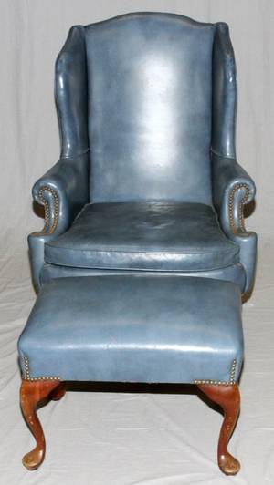 QUEEN ANN STYLE LEATHER ARM CHAIR AND OTTOMAN