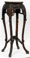 CHINESE CARVED WOOD MARBLE TOP PEDESTAL C 1900