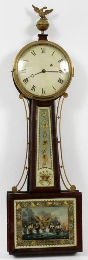 AMERICAN MAHOGANY BANJO CLOCK C 1820