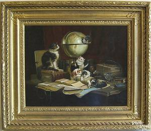 After Henriette RonnerKip  Contemporary oil on panel scene of kittens on a desk in a study
