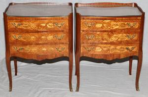 LOUIS XV STYLE MARQUETRY INLAID MAHOGANY COMMODES