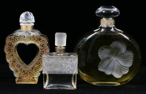 LALIQUE CRYSTAL PERFUME BOTTLES THREE